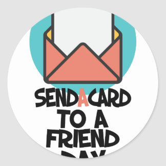 Seventh February - Send a Card to a Friend Day Round Sticker