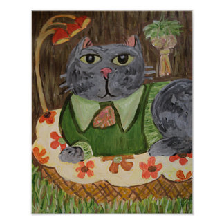 Seventies Cat Folk Art Poster