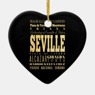 Seville City of Spain Typography Art Ceramic Ornament
