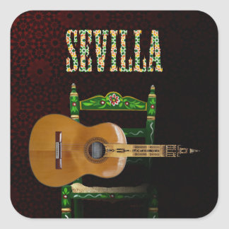 SEVILLE. Flamenco guitar with Giralda of Seville Square Sticker