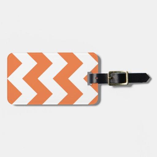 Seville Orange Chevron Zigzag Luggage Tag