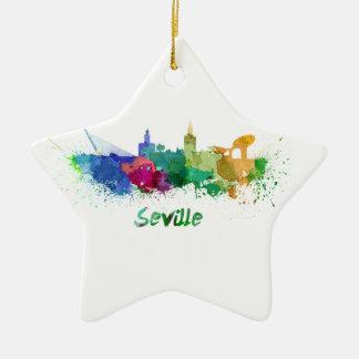 Seville skyline in watercolor ceramic ornament