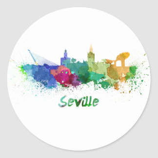 Seville skyline in watercolor classic round sticker