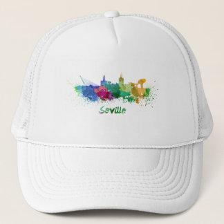 Seville skyline in watercolor trucker hat
