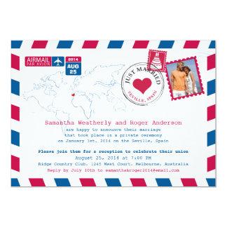Seville, Spain Airmail Post Wedding Reception Card