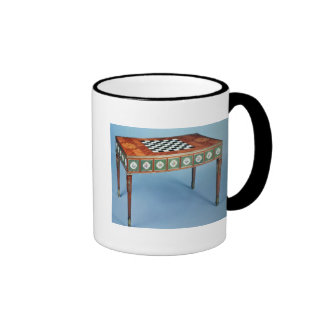 Sevres games table with porcelain plaques mug
