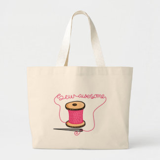 Sew awesome needle and cotton large tote bag
