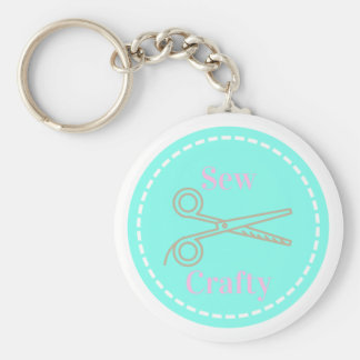 Sew Crafty Pastel Pink Gray Aqua Key Ring