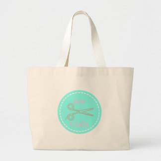 Sew Crafty Pastel Pink Gray Aqua Large Tote Bag