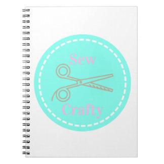 Sew Crafty Pastel Pink Gray Aqua Notebook