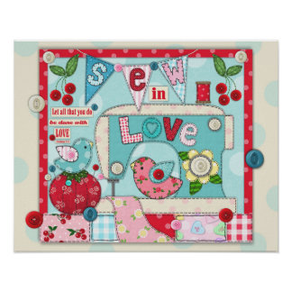 """Sew in Love"" Inspirational Sewing Themed Poster"