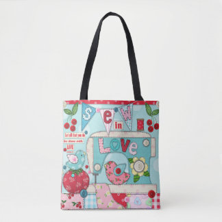 """Sew in Love"" Vintage Inspired Sewing-Themed Tote"