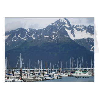 Seward, Alaska harbor with boats note card