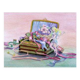 SEWING BOX FAERIE by SHARON SHARPE Postcard