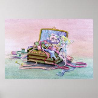 SEWING BOX FAERIE by SHARON SHARPE Print