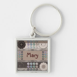 Sewing Enthusiast Silver-Colored Square Key Ring