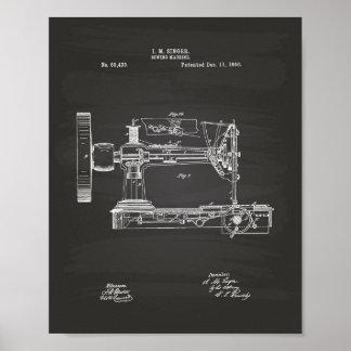 Sewing Machine 1866 Patent Art Chalkboard Poster