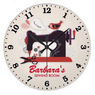 Sewing Machine Personalizable Wall Clock
