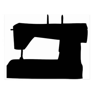 sewing machine silhouette postcard