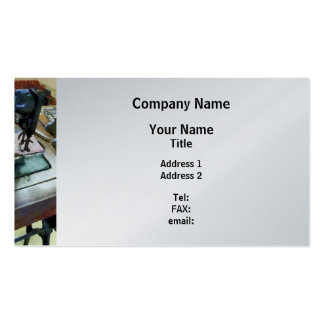 Sewing Machine With Sissors - Platinum Finish Business Card Template