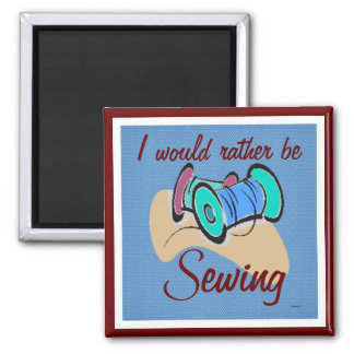 Sewing Magnet (cranberry/blue)