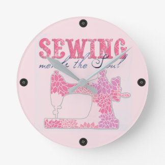 Sewing Mends the Soul Round Clock