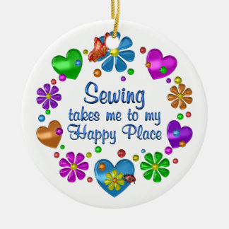 Sewing My Happy Place Ceramic Ornament