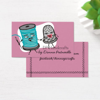sewing needle spool of thread thimble love business card