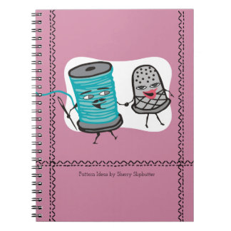 sewing needle spool of thread thimble romance spiral notebook
