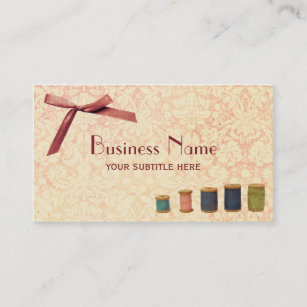 Pink sewing business cards zazzle au sewing pink bow damask vintage business card reheart Image collections