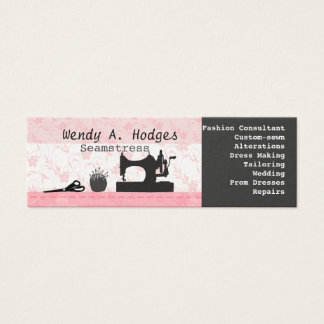 Sewing Pins Machine Mannequin Pink Skinny Handmade Mini Business Card