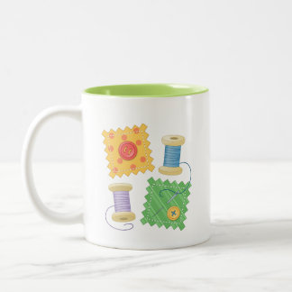 Sewing Quilting Craft Hobby Quote Two-Tone Coffee Mug