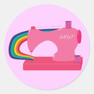 Sewing Rainbows Round Sticker