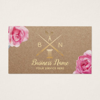 Sewing Seamstress Thread & Needles Rustic Floral Business Card