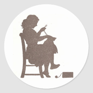 Sewing Silhouette Classic Round Sticker