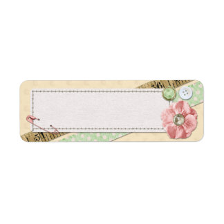 Sewing Stitches, Buttons & Ribbon Shabby Chic Pink Return Address Label