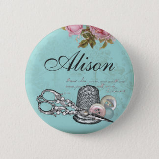 Sewing Theme Name Badge Button