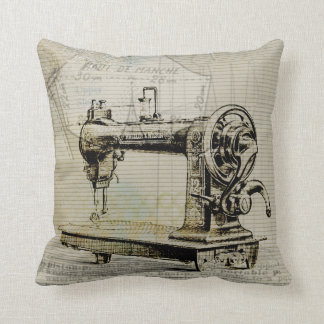 Sewing Themed Pillow Vintage Sewing Machine