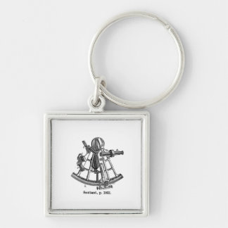 Sextant Silver-Colored Square Key Ring