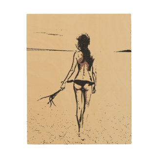 Sexy at the beach, hot bikini girl abstract sketch wood prints