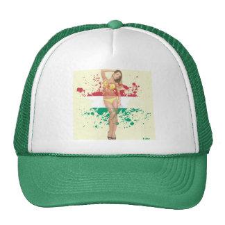 Sexy bikini girl on paint splatter Trucker Hat