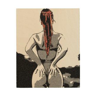 Sexy bikini, hot redhead girl posing curvy shapes wood print