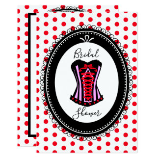 Sexy Corset and Red Polka Dots Bridal Shower Card