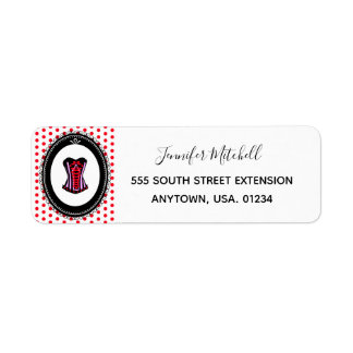 Sexy Corset and Red Polka Dots Pattern Return Address Label