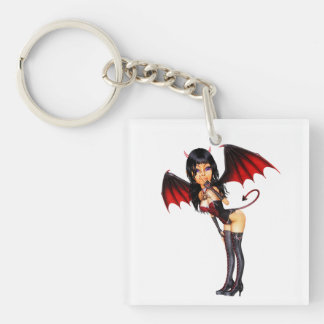 Sexy Devil Girl Double-Sided Square Acrylic Key Ring