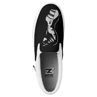 Sexy Emo Pirate Girl Pin Up Slip On Sneaker Black Printed Shoes