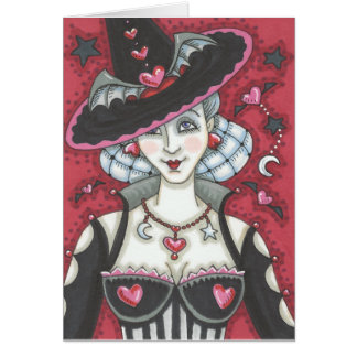 Sexy Goth Witch WICKED VALENTINE NOTE CARD