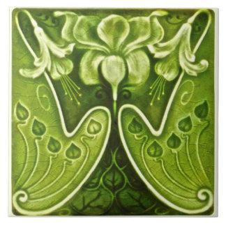 Sexy Green Art Nouveau Floral Repro Tile