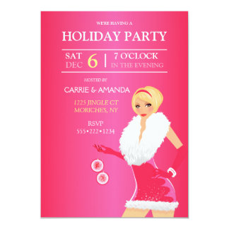 Sexy Hot Pink Christmas Fashion Girl Holiday Dress 13 Cm X 18 Cm Invitation Card