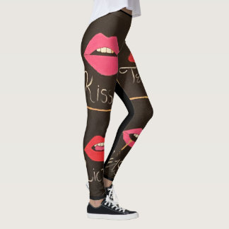 Sexy lips abstract deisgn leggings